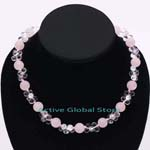 Natural Rose & Clear Rock Crystal Quartz in Flower Shaped Fashion Design Necklace Gift